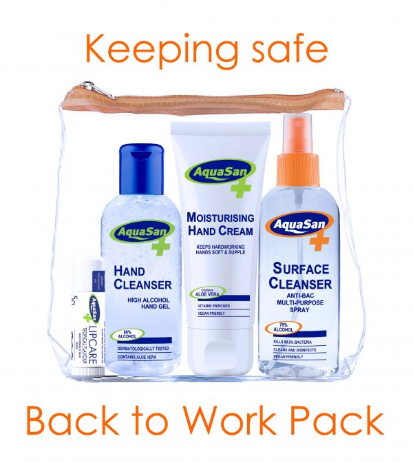 Back to work pack containing Sanitiser, Cleanser and Moisturiser