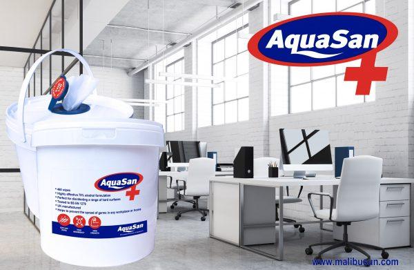 Bucket of Aquasan Surface Sanitising wipes