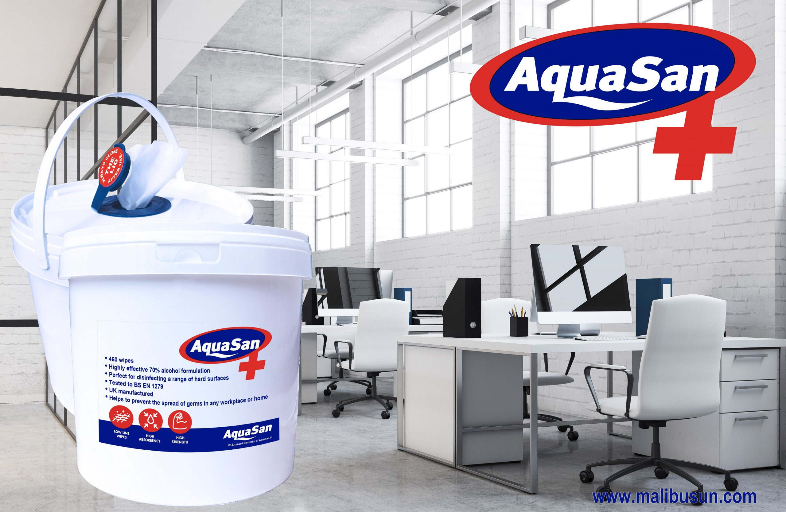 Malibu Aquasan Surface Sanitiser Wipes Bucket Sterry Telecom